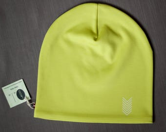 Green unisex beanie hat Slouchy jersey beanie with cotton lining Autumn/spring hat for women/men/teen Scull hat for outdoor activity