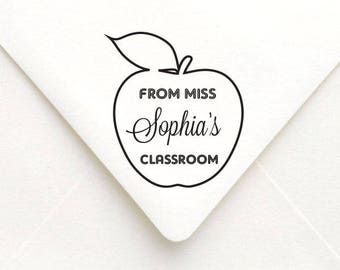 Custom Teacher Stamp Apple Design, Classroom Stamp, From the Classroom of, Gift for Teachers, Book Stamp