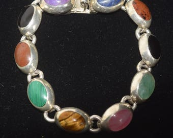 Vintage Sterling Silver Mexican Multi-Stone Bracelet