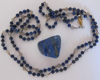 Lapis-Gray Agate Wrap Necklace - Genuine Gemstones & Pure Silk Thread