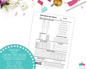 Daily Chronic Pain Tracker | Symptom Tracker | Medication Tracker | Activity Tracker | Food Diary | Planner Page | Digital | Printable