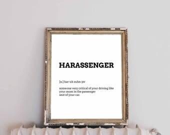 Harassenger Definition, Instant Digital Download, Art Print, Black and White, Modern