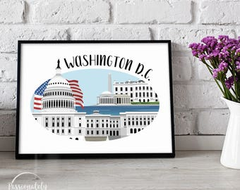 Washington D.C. Skyline Illustration - Wall Art - Digital Download