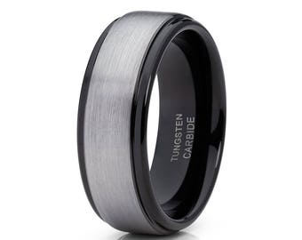 Gray Tungsten Wedding Band Black Tungsten Ring Men & Women Anniversary Tungsten Ring Engagement Tungsten Ring