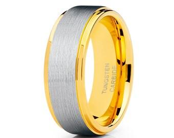 Yellow Gold Tungsten Wedding Band Tungsten Carbide Ring Men & Women Yellow Gold Tungsten Wedding Ring Engagement Band