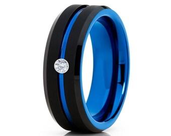 Blue Tungsten Wedding Band Men & Women Brush Tungsten Ring Anniversary Band Tungsten Carbide Ring White Diamond Band