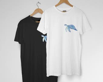 Blue Turtle Graphic Tee Tshirt | Black and White
