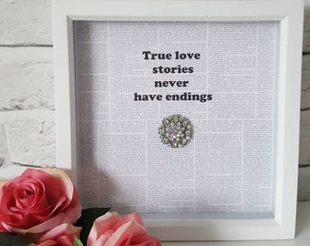 Beautiful box frame with large crystal embellishment. Perfect for anniversary gifts, valentines day or weddings.Stylish homes & Shabby chic