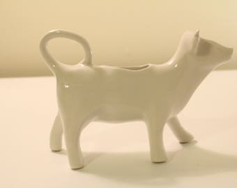 Hoan France Signed White Porcelain Figural Cow Creamer