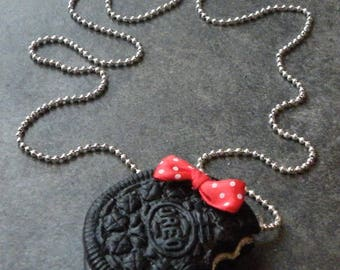 Polymer clay oreo cookie necklace