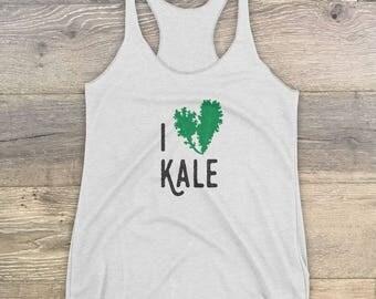 White I Heart Kale Women's Racerback Tank Top • Vegan • Vegetarian • Gift • Girl • Healthy Living • Yogi • Workout • Shirt • Healthy Eating