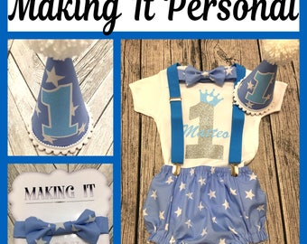 Boys 1st Birthday Cake Smash Outfit Personalised With Name Blue Star Party Hat Nappy Pants Braces Bow Tie Bodysuit Vest Glitter READY 2 POST