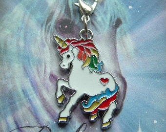 Enamel Rainbow Magic Unicorn ~ Clip On Charm ~ Ready to Wear ~ Wishes come True / Innocence and Beauty / Gift / Birthday / Lucky Charm