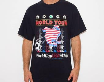 World Cup, Soccer, World Tour, 90s T-shirt, Sportswear, USA, Sports, Vintage Athletic, Tumblr, 90s Shirts Tumblr, Black Tshirt, Activewear