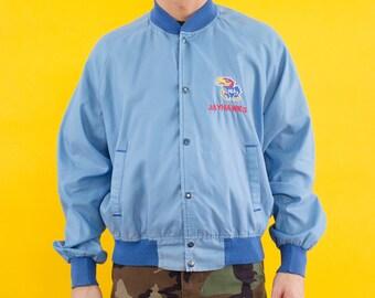 90s, Kansas, Jayhawks, Windbreaker, Bomber Jacket, Basketball, 90s Basketball, Baby Blue, Embroidered, Logo, Varsity Jacket, Spring Jacket