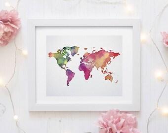 world map print, explore print, world map poster, travel map, watercolor world map, watercolor map, printable world map, world map