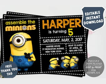 Minions Invitations, Minions Birthday Invitation, Minion Party, Minion Invited, Minion Thank You Tag Free, Editable PDF, Instant Download