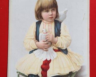 Chromo child doves card street advertising 1920 haberdashery shop