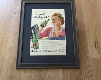 Vintage 7-up framed and matted Life Magazine ad