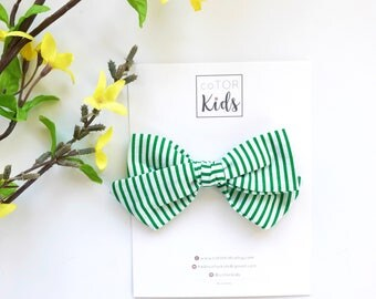 ISLA | green white stripes, hand tied bow, stripe fabric hair bow, spring hair bows, easter hair bows, nylon headband