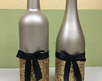 Glitter wine bottles etsy for Decorating wine bottles with glitter