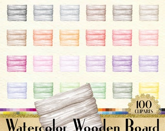 100 Watercolor Wooden Board Clipart, Frame Clipart, Watercolor Clipart, Love Clipart, 100 PNG Clipart, Planner Clipart, Wooden Clip Arts