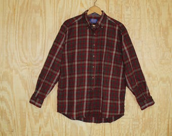 Vintage 1990's Sir Pendleton Wine / Gray Wool Flannel Tartan Plaid Button Down Shirt Large L 46