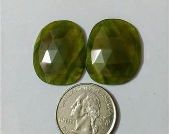 Vesuvianite Rose cut slice Pair/Ovel rose cut slice pair/Cabochon Slice/natural Vesuvianite /Cabochon rose cut/Earring slice pair/loose