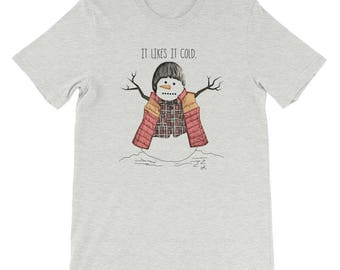 Stranger Things, It Likes It Cold, Funny Will Byers, Red Vest Snowman Short-Sleeve Unisex T-Shirt