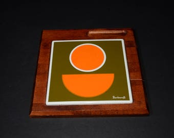 Baribocraft Trivet Maple with Abstract design, enameled plate, Rare Baribocraft, Platter,Abstract Tile Baribocraft Board, Mid-century,Canada