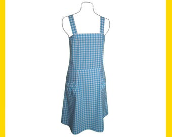 Blue and white gingham cotton summer dress