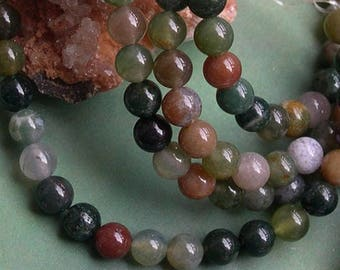 Set of 65 round 6 mm Indian agate gemstone beads