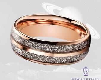 Meteorite Rose Gold Tungsten Wedding Band