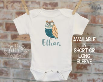 Blue Owl Baby Name Personalized Onesie®, Customized Onesie, Woodland Style Onesie, Boho Baby Onesie, Boy Name Onesie - 210E
