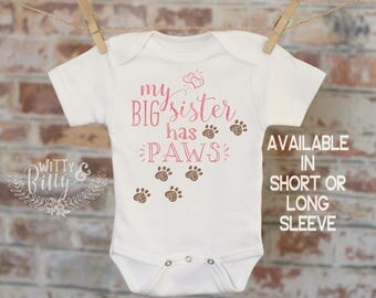 Dog Sister Onesie® in Pink, Big Sister Dog, Cute Baby Outfit, Dog Sister Bodysuit, Boho Baby Onesie, Cute Baby Clothes - 383M