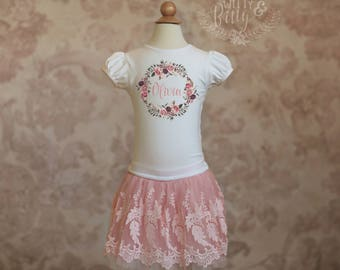 Flower Wreath Personalized Girls Lace Skirt Outfit, Girls Birthday Outfit, Pink Dress-up Outfit, Personalized Girls Outfit - C248O