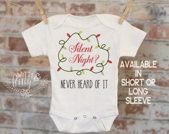 Silent Night Never Heard Of It Onesie®, Christmas Onesie, Xmas Onesie, Cute Onesie, Funny Onesie, Boho Baby Onesie - 395S