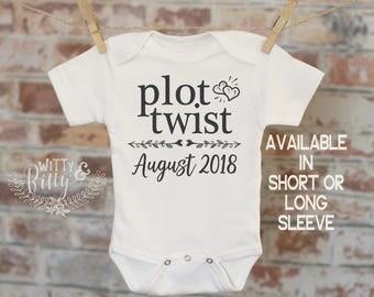 Plot Twist Pregnancy Reveal Onesie®, Reveal to Husband, Pregnancy Announcement, Customized Onesie, Coming Soon Onesie - 415P