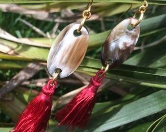 Horn and Tassle Earrings
