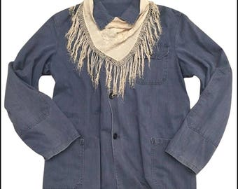 1940s Vintage French Work Wear Jacket Chore Patched Indigo Blue Sun Faded Size M L Workwear