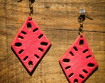 Jennison Pink Earrings | Leather Earrings | Birthday Gift | Anniversary | Gifts under 25 | Handmade | Gifts for Her