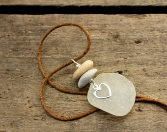 """Heart Sea Glass Necklace (19""""-20"""" Long) Made with seaglass and sterling silver heart charm."""