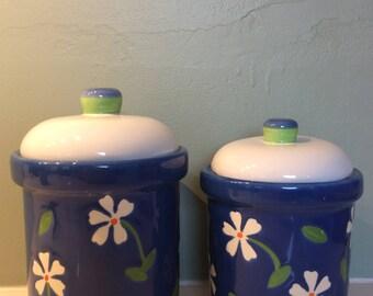 Vintage Lillian Vernon floral ceramic canisters (Set of 2)