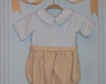Cotton/Linen Baby Boy Bubble. 4 to 6 Months.