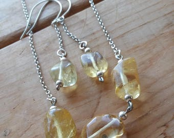 Citrine Nugget Necklace and Earring Set