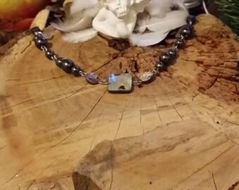 Bracelet en Abalone (ou ormeau) en hématite et en magnétite ainsi que argent 925 et argent massif par AngelS SignS