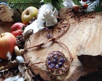 Unique - Collier en cuivre et en améthyste entièrement fait main. Tressage de la Chaîne fait  main. *collection Alchimie