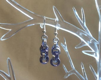 Lavender and Silver Double Spiral Chain Mail Earrings