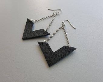 Silver Earrings. Black earrings. Leather earrings. Minimalist earrings. Simple dangle earrings. Geometric earrings. Minimalist jewelry.