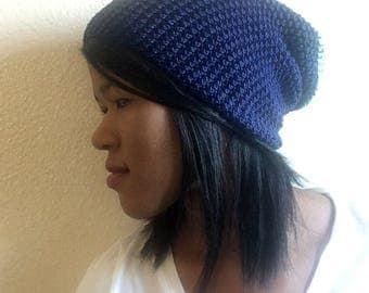 Blue Crochet Beanie Hat, Handmade Crochet Hat, Blue Crochet Hat, Blue Crochet Beanie, Slouchy Crochet Hat, Slouchy Crochet Beanie